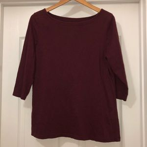 LOFT Deep Purple 3/4 Sleeve Top Size XL